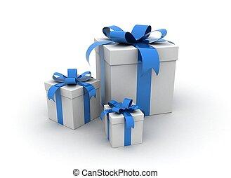 dobozok, kék, -, tehetség, három