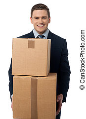 dobozok, kartonpapír, feltevő, fiatalember