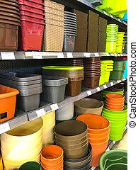 dobozok, műanyag, cserépáru, piac, polc