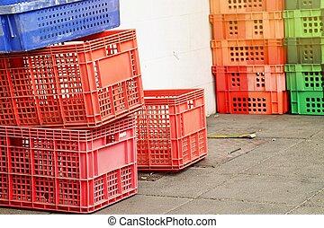 dobozok, rekesz, halom, műanyag