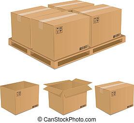 dobozok, vektor, állhatatos, kartonpapír