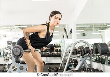 dobrado, atleta, ginásio, barbell, sobre, exercício, fila