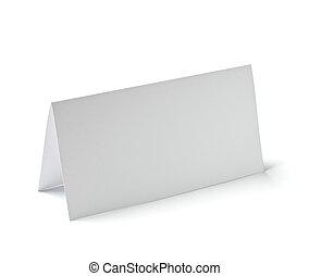 dobrado, cartão, nota, folheto