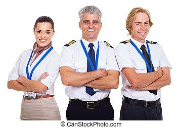dobrado, linha aérea, grupo, braços, tripulação