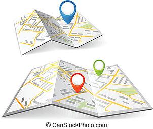 dobrado, mapas, com, cor, ponto, marcadores