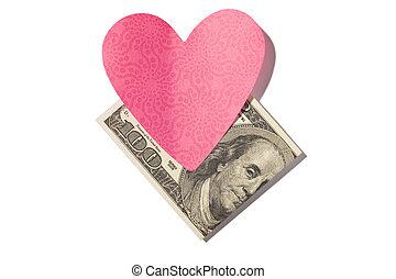 dobrado, moeda corrente, e, coração, correspondência-isto