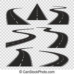 dobrado, rua cidade, estrada asfalto, isolado, estradas, vetorial, horizon., perspective., curvado, caminho, viagem, rodovia