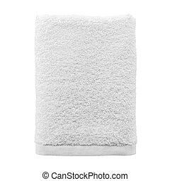dobrado, toalha branca, isolado