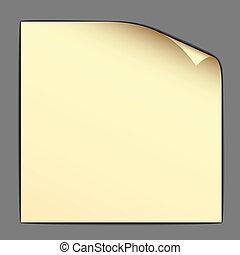 dobrado, vetorial, papel, amarela