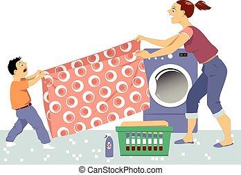 dobrando lavanderia