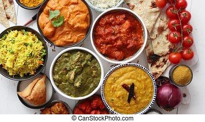 dobrany, jadło, warzywa, indianin, różny, świeży, ryż,...