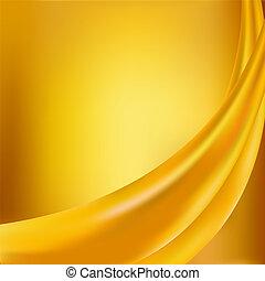 dobras, algum, fundo amarelo, seda, macio