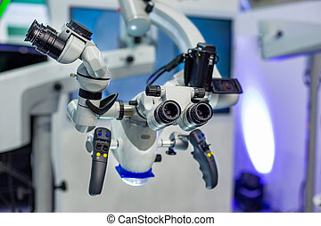 dobro, dental, modernos, equipment., rotativo, binocular., microscópio, operando, fundo, médico, dentistry.