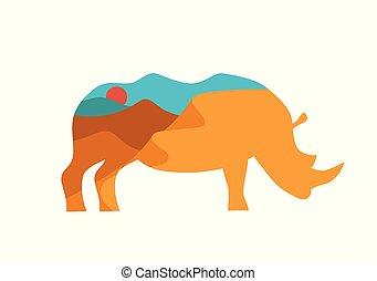 dobro, ilustração, rinoceronte, africano, paisagem, exposição