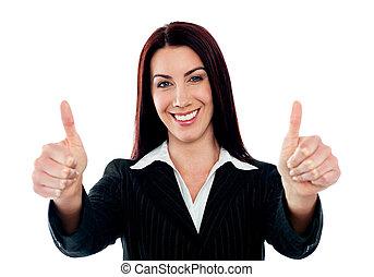 dobro, mostrando, executiva, dedo polegar*-para cima, confiante