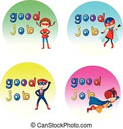 dobry, bohater, wspaniały, litera, praca, majchry