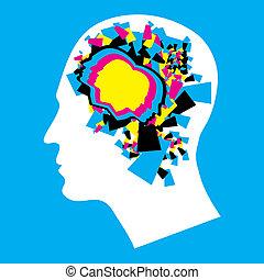 dobry, -, cmyk, mózg, ludzki, lewa strona