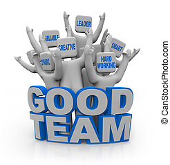 dobry, drużyna, -, ludzie, z, teamwork, qualities