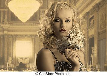 dobry, dziewczyna, maska, spojrzenia, blondynka, srebro