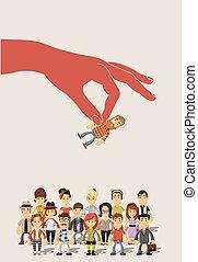dobry, grupa, handlowy, ludzie., osoba, wybierając