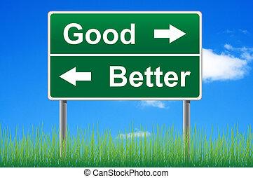 dobry, i, lepszy, droga znaczą, na, niebo, tło, trawa, underneath.