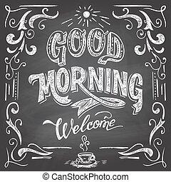 dobry, kawiarnia, chalkboard, rano