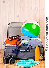 dobry, konieczny, drewniany, walizka, wszystko, obiekty, morze, stół, święto