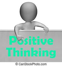 dobry, myślenie, dodatni, znak, optymistyczny, myśli, widać