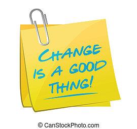 dobry, notatka, ilustracja, rzecz, projektować, zmiana