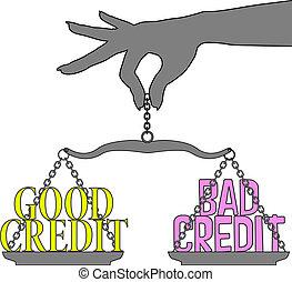dobry, osoba, skalpy, wybór, kredyt, kiepski