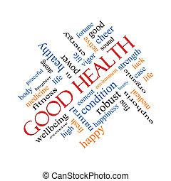 dobry stan zdrowia, słowo, chmura, pojęcie, wędkowałem