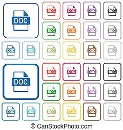 doc, bestand, formaat, geschetste, plat, kleur, iconen