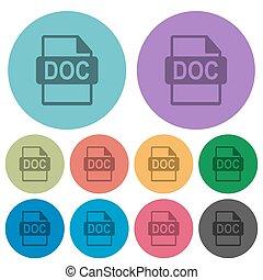 doc, bestand, formaat, kleur, donkerder, plat, iconen