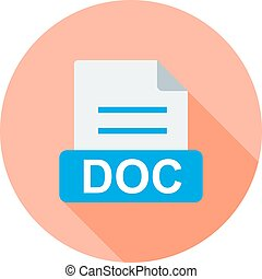 DOC, document, file icon vector image. Can also be used for...