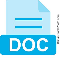 DOC File - DOC, document, file icon vector image. Can also ...