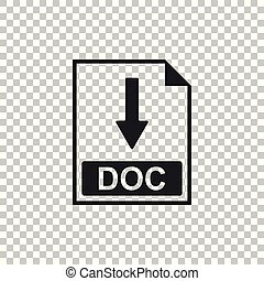 DOC file document icon. Download DOC button icon isolated on transparent background. Flat design. Vector Illustration