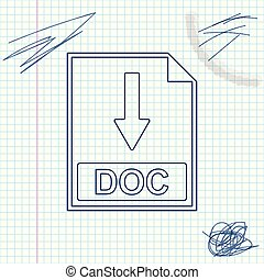 DOC file document icon. Download DOC button line sketch icon isolated on white background. Vector Illustration