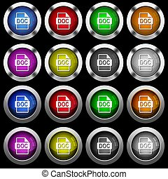 DOC file format white icons in round glossy buttons on black background