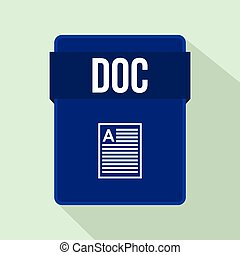 DOC file icon, flat style