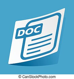 DOC file sticker - Sticker with doc file icon, isolated on...