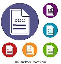 doc, set, bestand, iconen