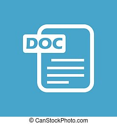 Doc white icon - Doc web white icon isolated on a blue...