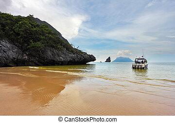 doca, speedboat, praia, arenoso
