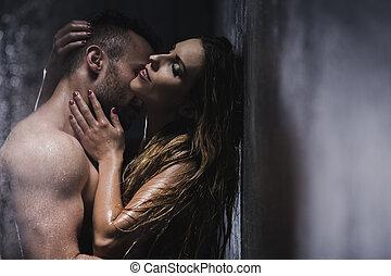 doccia, abbracciare, coppia, passionately