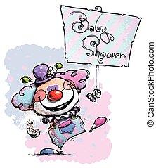 doccia, bambino, cartellone, presa a terra, pagliaccio
