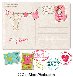 doccia, bambino, francobolli, set, scheda