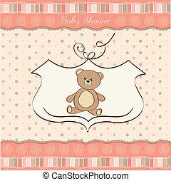 doccia, bambino, scheda, orso, teddy