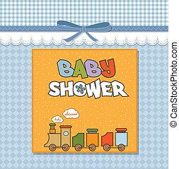 doccia, bambino, treno, giocattolo, scheda