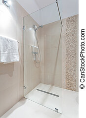 doccia, con, porta vetro