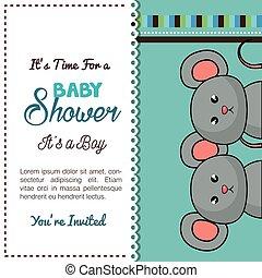 doccia, disegno, bambino, gemelli, topi, scheda
